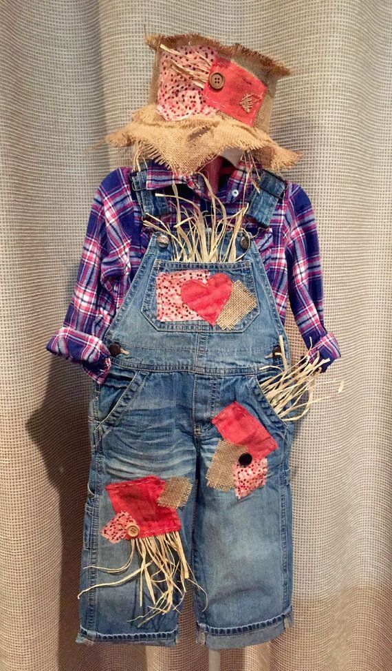 Scarecrow Costume-Includes Overalls, Shirt and Hat (sizes 6m to 5t) #scarecrowcostumediy Custom Scarecrow Costume w/ Custom Hat por BBAHomemade en Etsy #scarecrowcostumediy