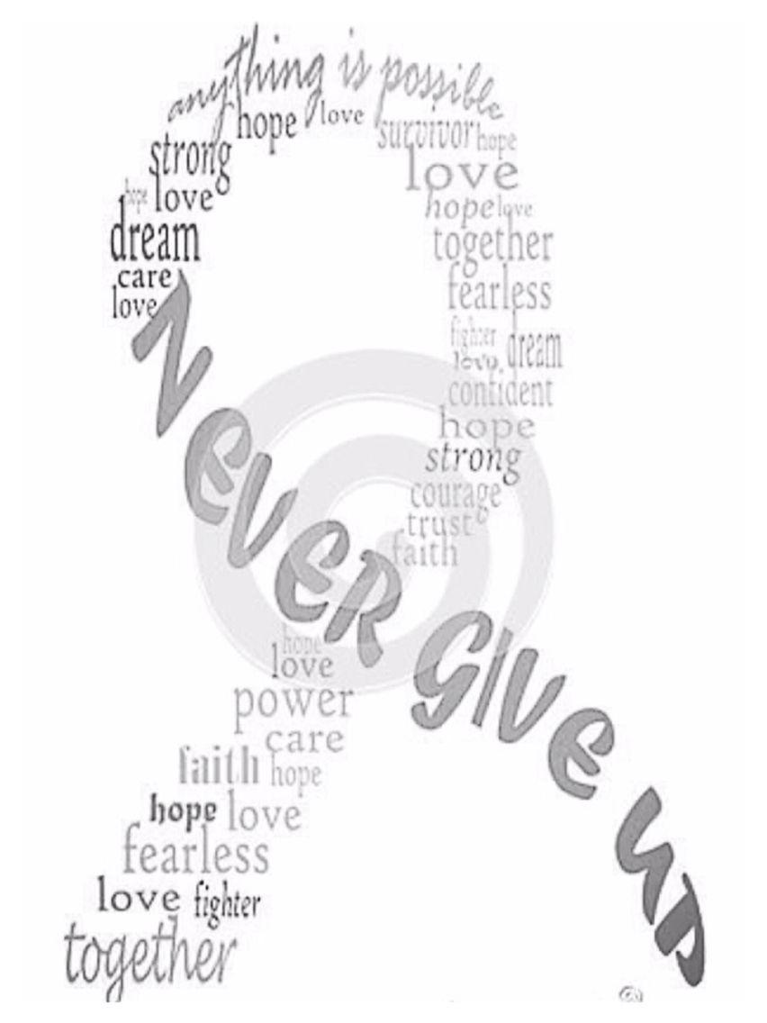 Never give up; grey ribbon, brain tumor awareness