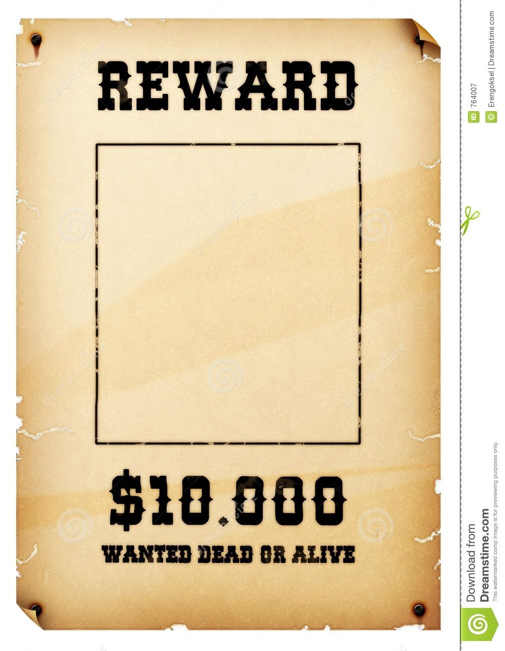 Free Old Western Wanted Posters | Wanted Poster Royalty Free Stock  Photography   Image: 764007  Most Wanted Poster Templates