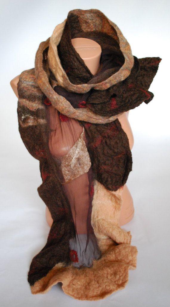 SAHARA - nuno felted silk chiffon scarf with merino, baby camel, bamboo, and soy fibers