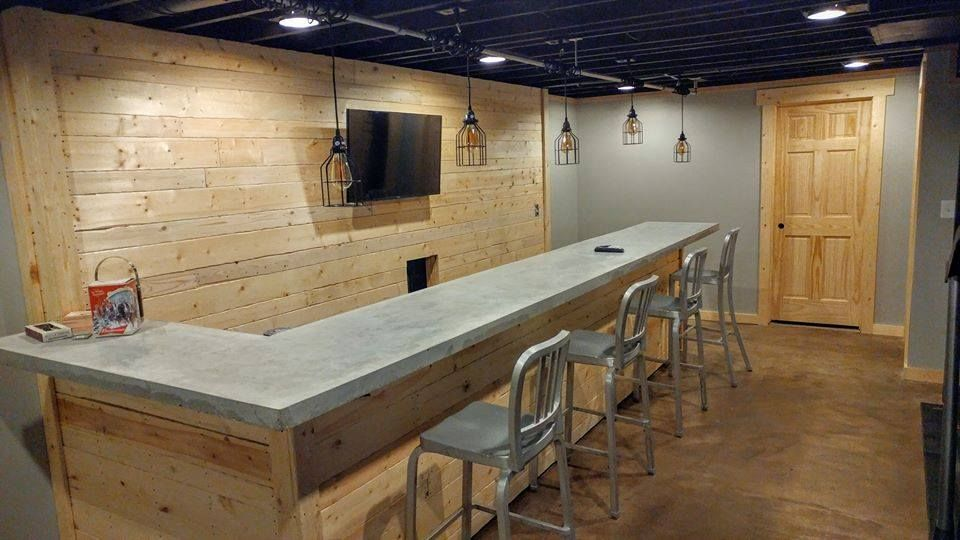 Concrete Countertop In A Basement Bar Done By A Diy Customer Using