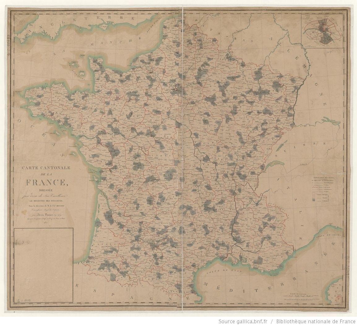 Carte cantonale de la France / dressée par ordre de son Excellence le Ministre des Finances sous la direction de M. le Chr. Hennet,…