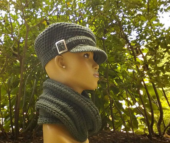 Dark Forest Green Newsboy Hat Beanie Tam with brim strap Silver buckle  free  earrings (not pictured) Fall Winter fashion Cowl sold Separate 078f764f7781