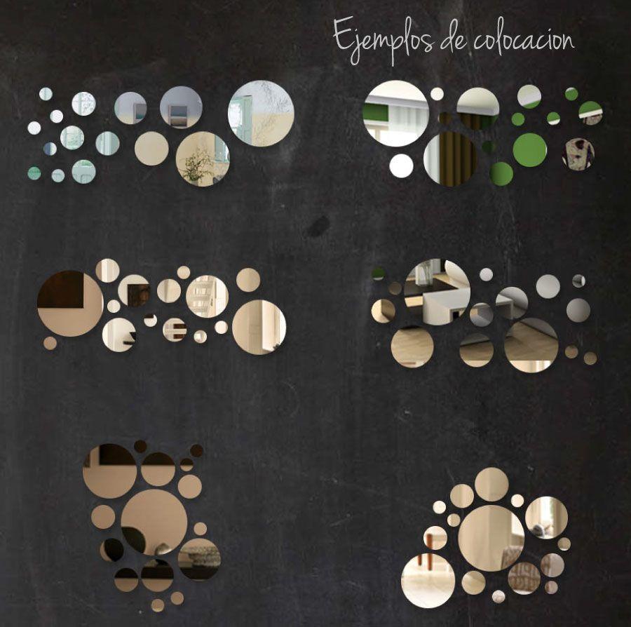 Kit 20 espejos redondos o cuadrados ba o living comedor for Espejos circulares pared