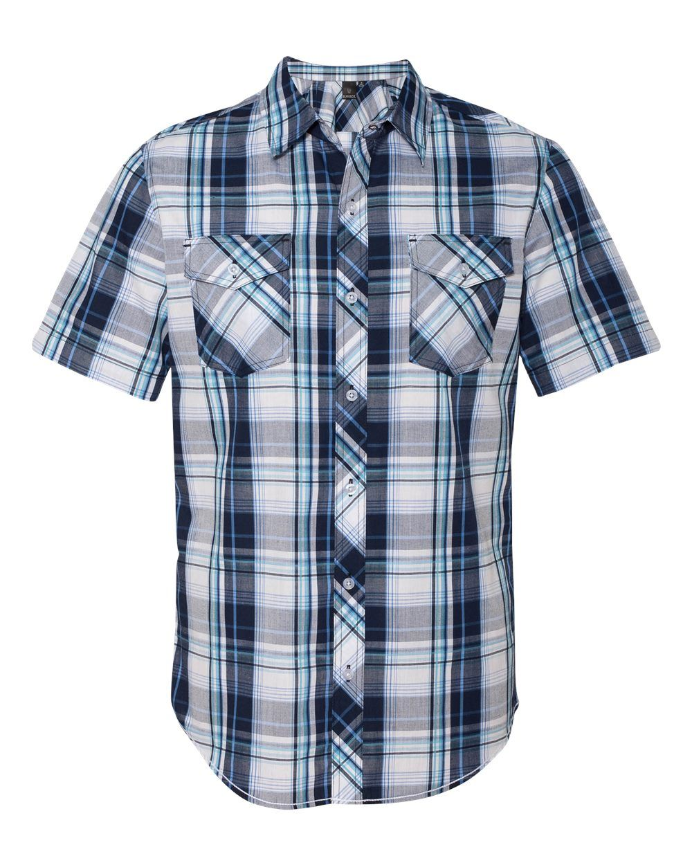 Men's Burnside Navy Plaid Short Sleeve Shirt B9202 | Men's ...