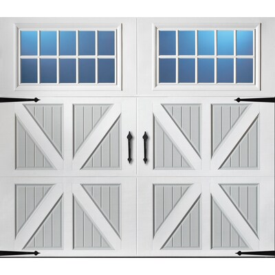 Pella 108 In X 84 In Insulated True White Gray Single Garage Door With Windows At Lowes Com In 2020 Garage Door Windows Single Garage Door Garage Doors