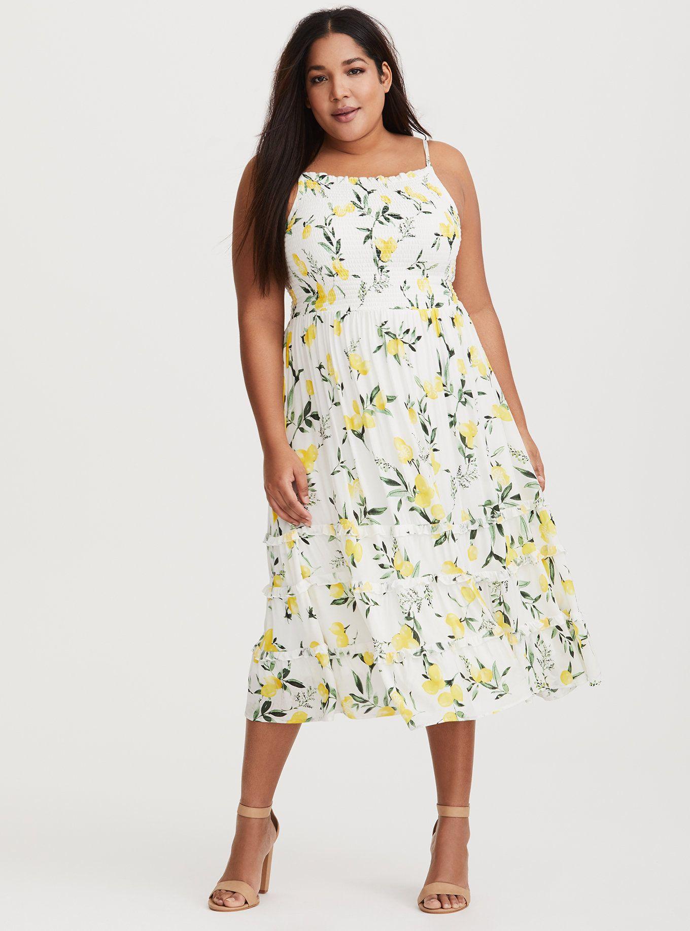 White Lemon Smocked Midi Dress Midi Dress Floral Chiffon Dress Dresses [ 1836 x 1360 Pixel ]