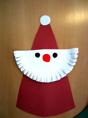 paper plate santas from Germany ~ so cute (could try using a folded coffee filter)