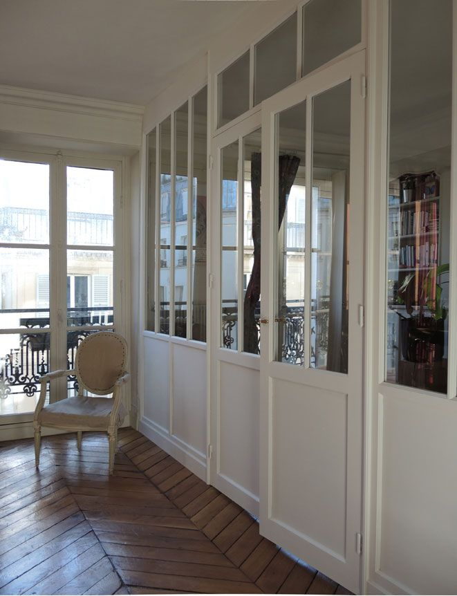 Verri re int rieur bois sur mesure paris verri re pinterest verriere verrieres for Porte appartement bois