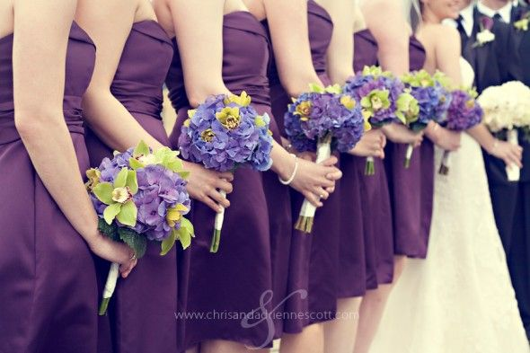 i love the hydrangeas and green orchids, but not necessarily the bridesmaids dress color