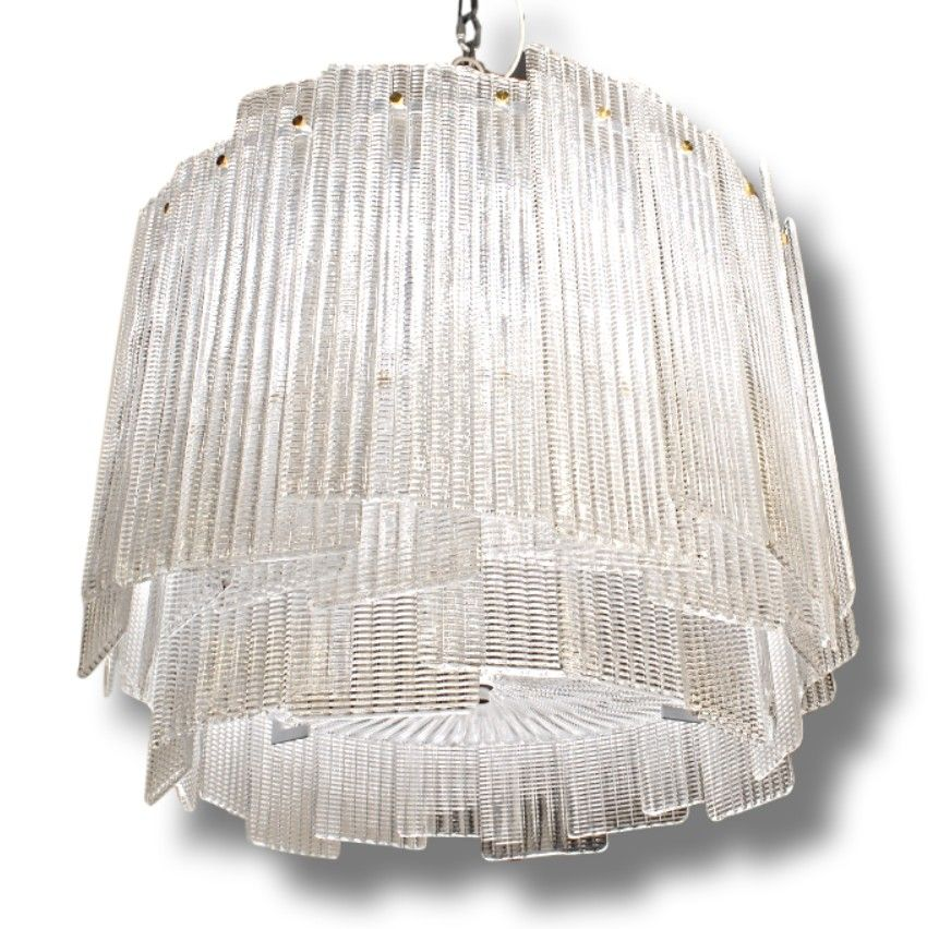 This Beautiful Mid Century Modern Chandelier Carries Over 62 Rectangular Hand Poured Glass Elements