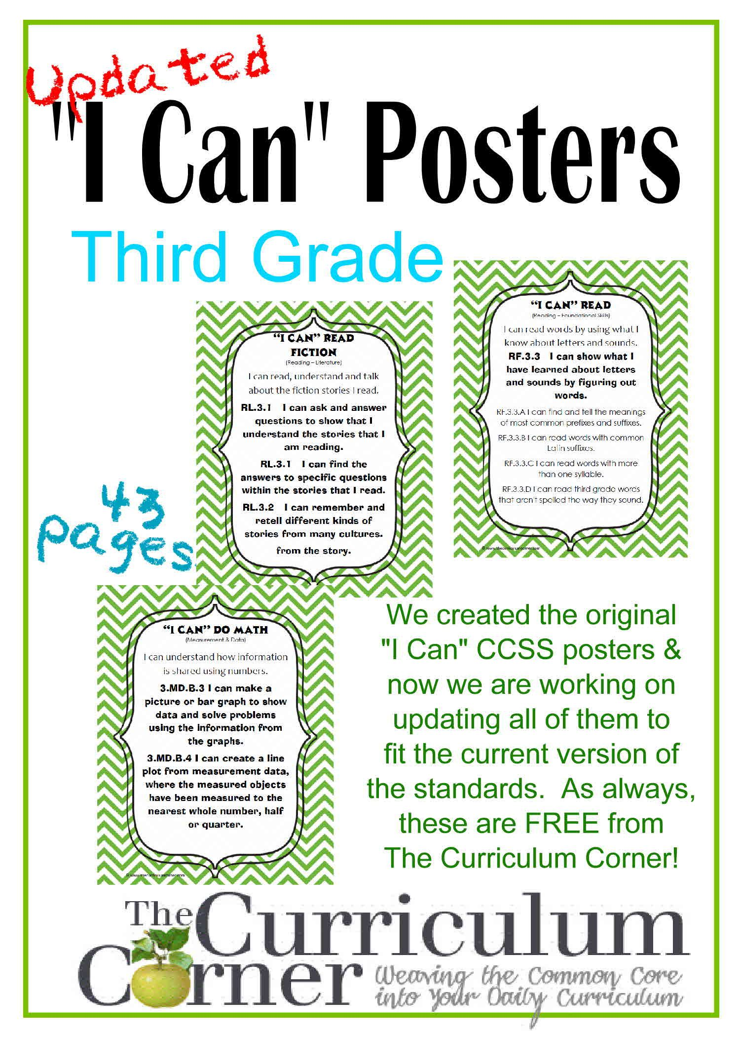 Updated 3rd Grade I Can Ccss Posters In Green Chevron I Can Statements Math About Me Ccss