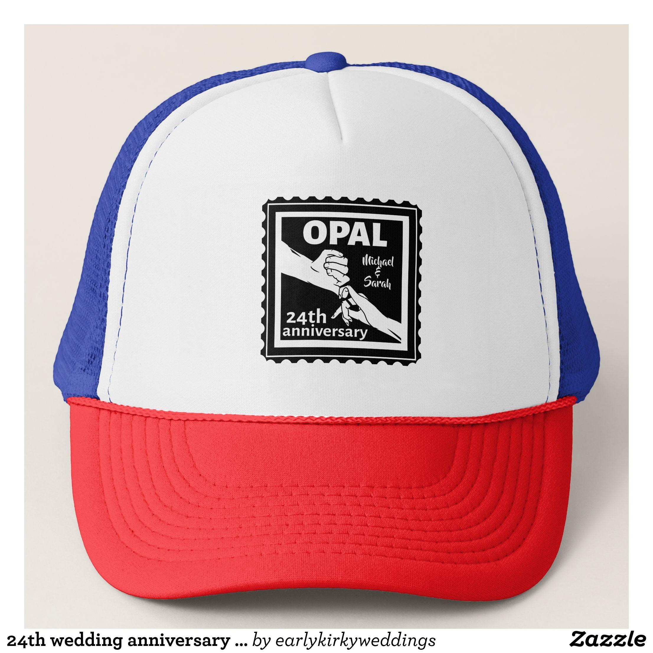 24th wedding anniversary traditional opal trucker hat