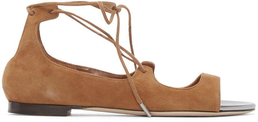 JIMMY CHOO Brown Suede Vernie Sandals. #jimmychoo #shoes #sandals