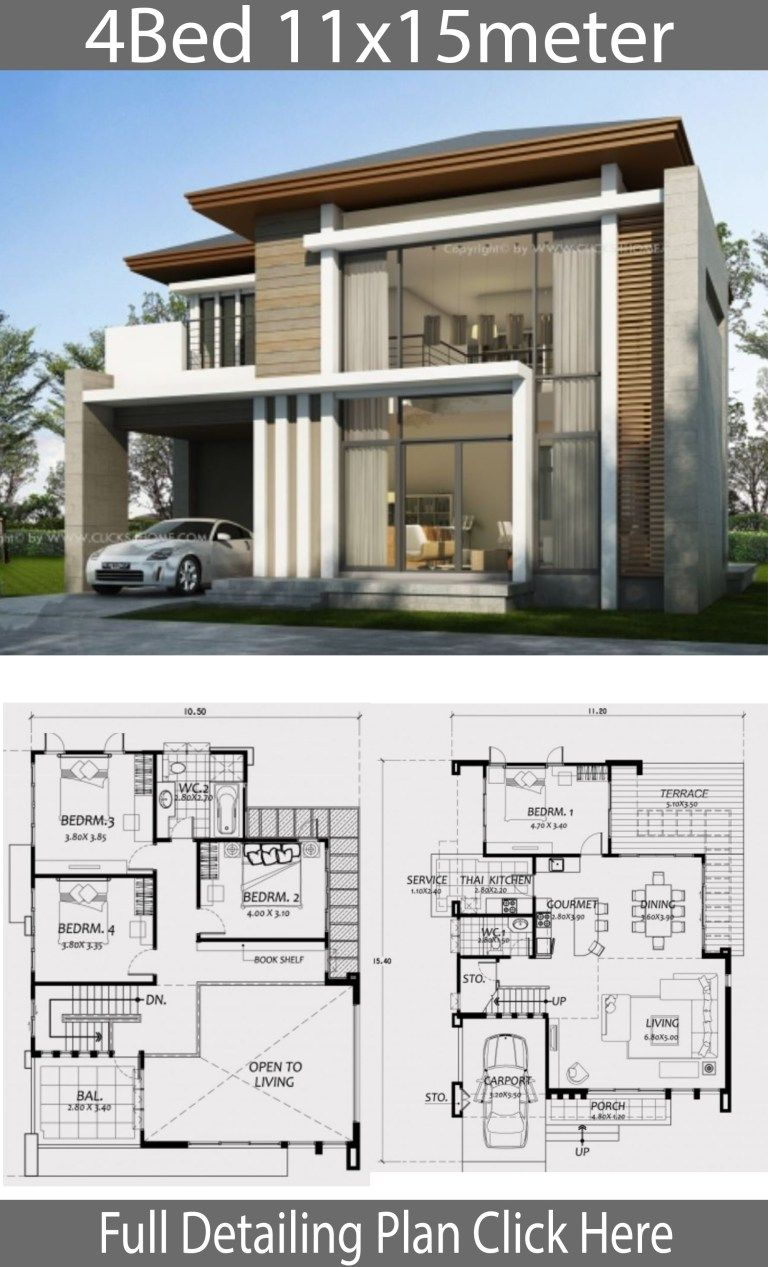 Home Design 11x15m With 4 Bedrooms Home Design With Plan Architectural House Plans Duplex House Plans Model House Plan