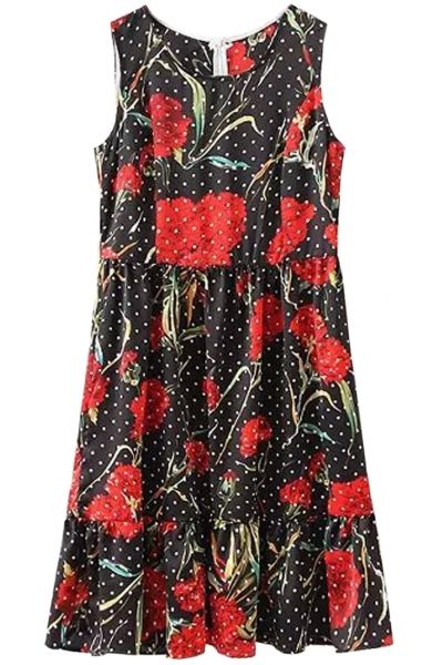 red-floral-dotted-print-sleeveless-mini-dress