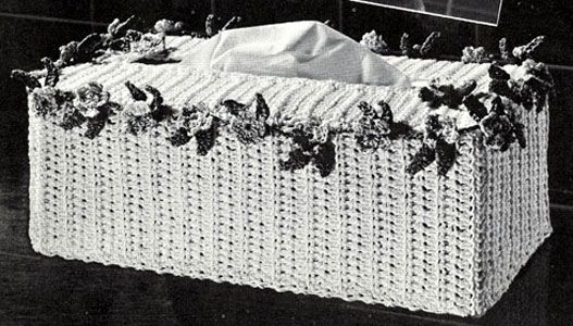 Garland Tissue Box Cover crochet pattern originally published by Coats & Clark, Book 141, in 1963.