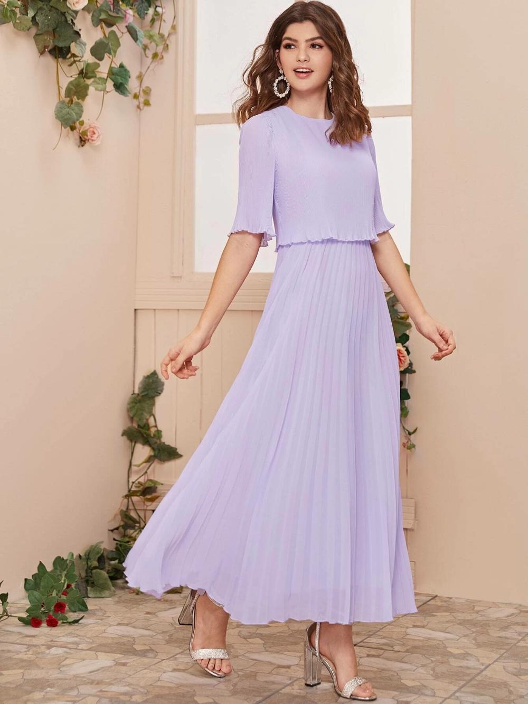 Split Back Pleated Solid Dress Shein Usa Dresses Solid Dress Best Wedding Dresses [ 1332 x 1000 Pixel ]