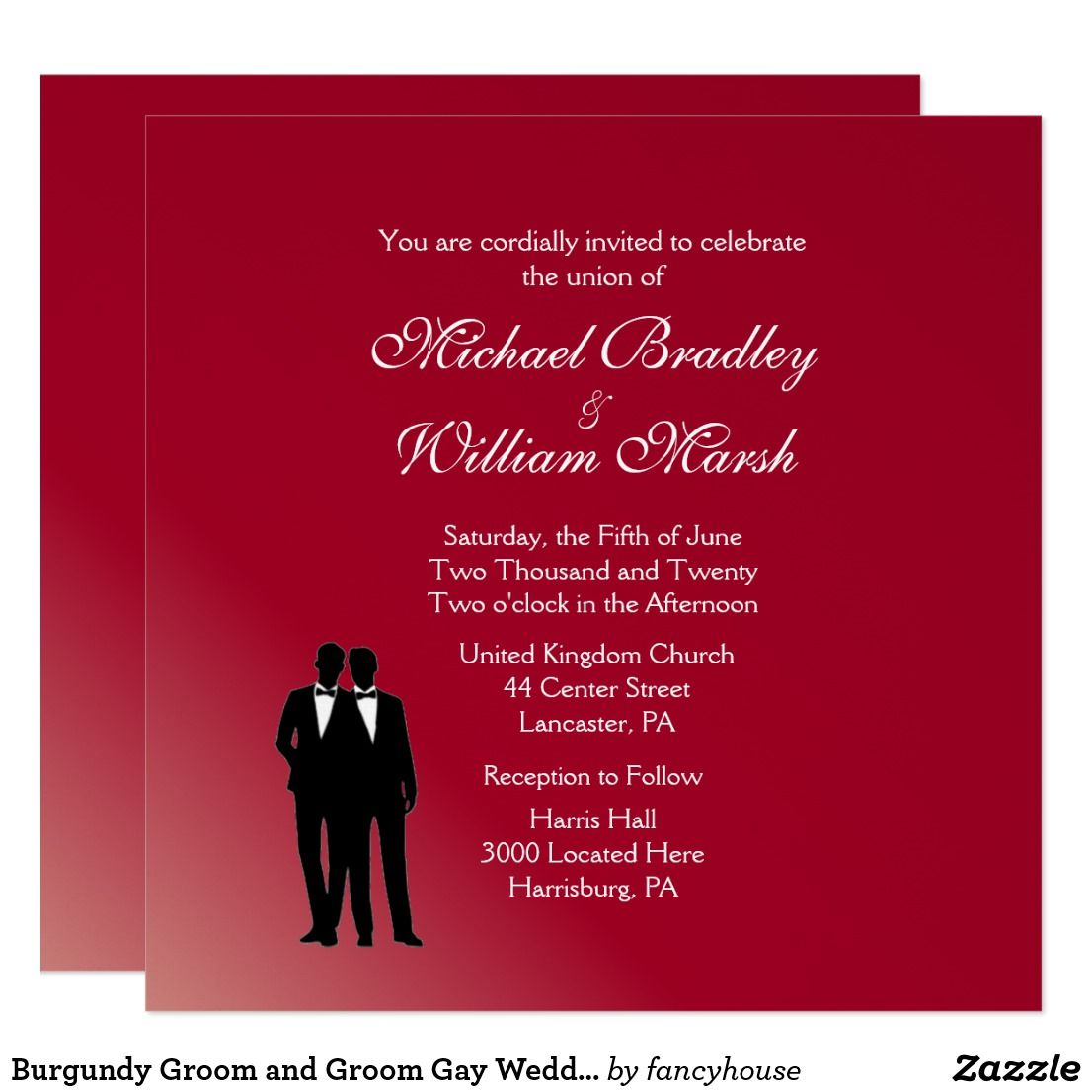 Burgundy Groom And Groom Gay Wedding Invitation Weddings
