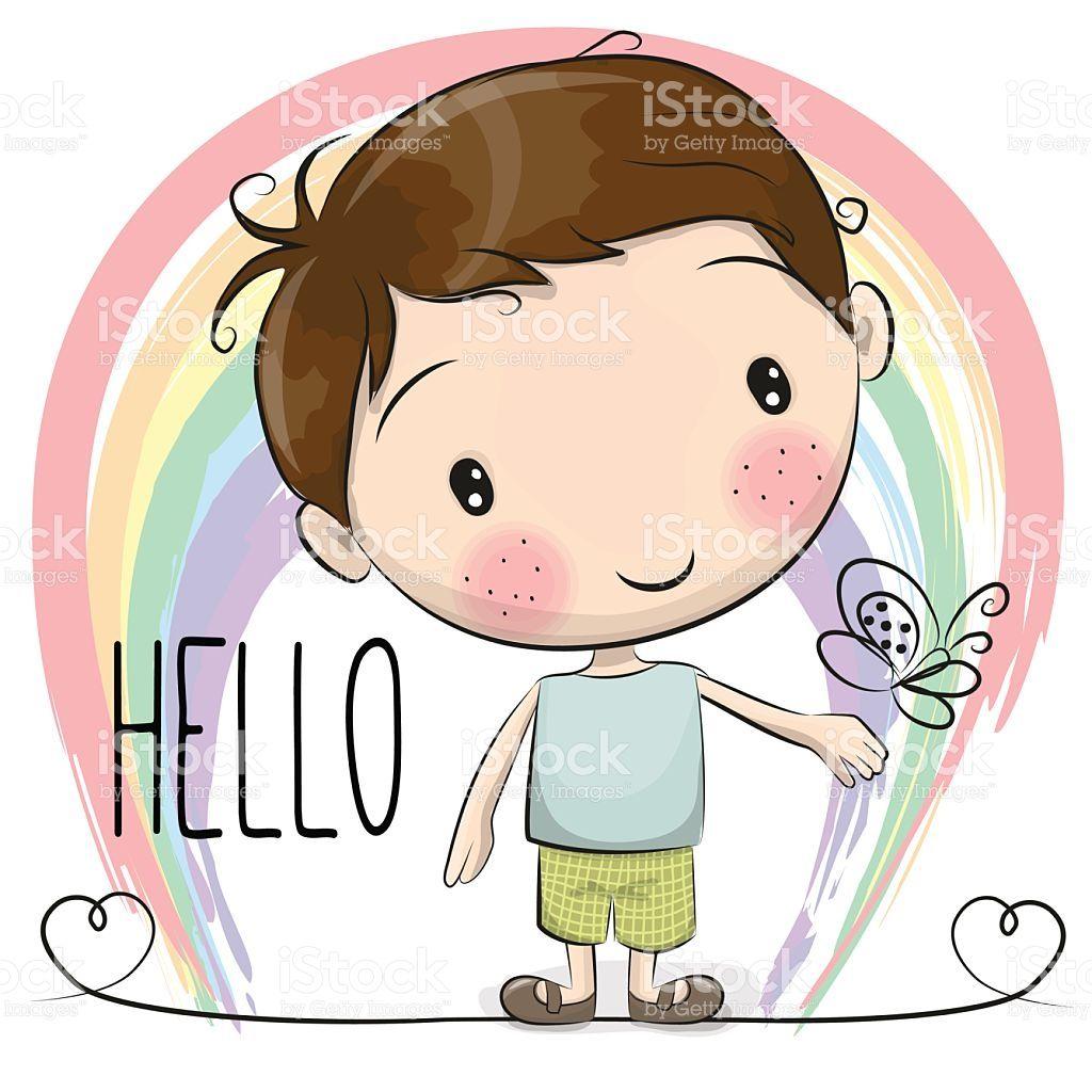 cute cartoon boy with a rainbow and butterfly clip art doodles rh pinterest co uk Cute Cartoon Baby Boy Cute Cartoon Man