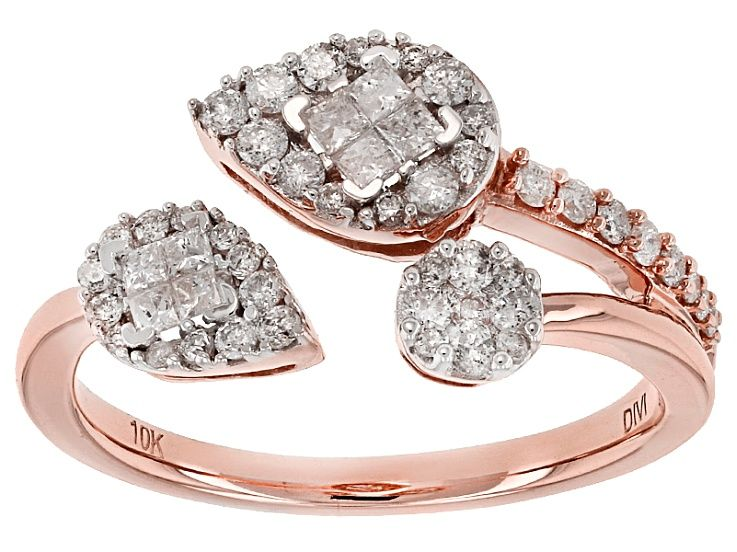 Pre Owned White Diamond 10k Rose Gold Ring 50ctw Prz1313 Unique Diamond Rings Round Diamond Engagement Rings Bridal Ring Sets