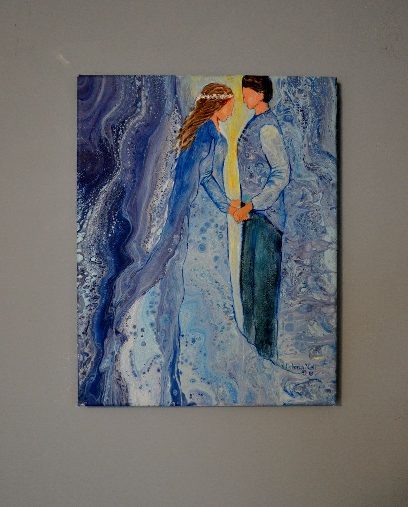 Elegant Romantic Paintings: Romantic Acrylic Pour, Embellished Acrylic Pour Painting