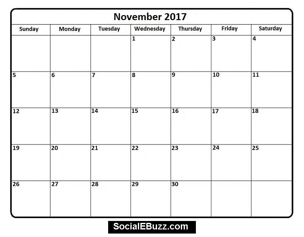 November  Calendar Printable HttpSocialebuzzComNovember