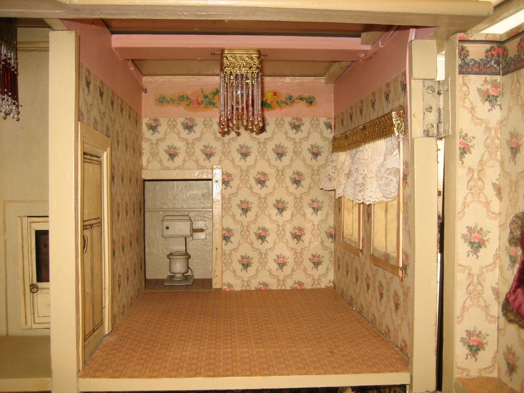 Interior of Antique German Christian HACKER large DOLLS House from