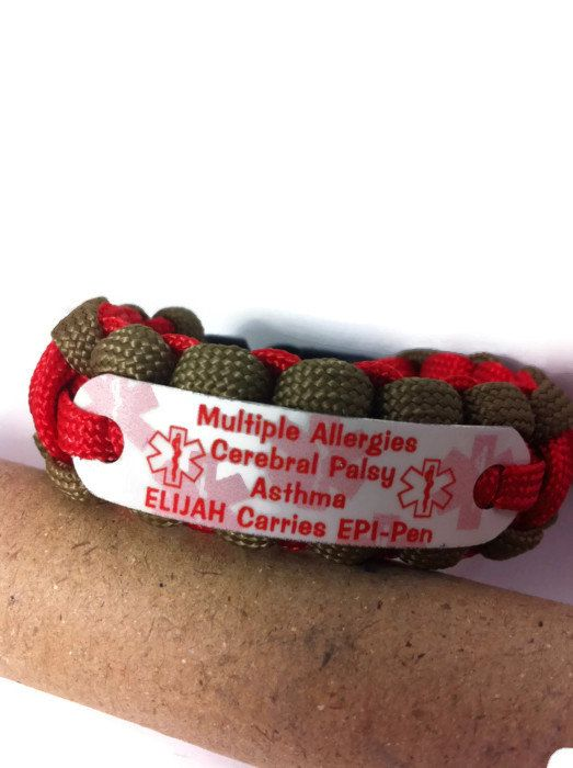 Medicial Id Alert Bracelet Up To 4 Lines Kids Medical Paracord And Child Size S