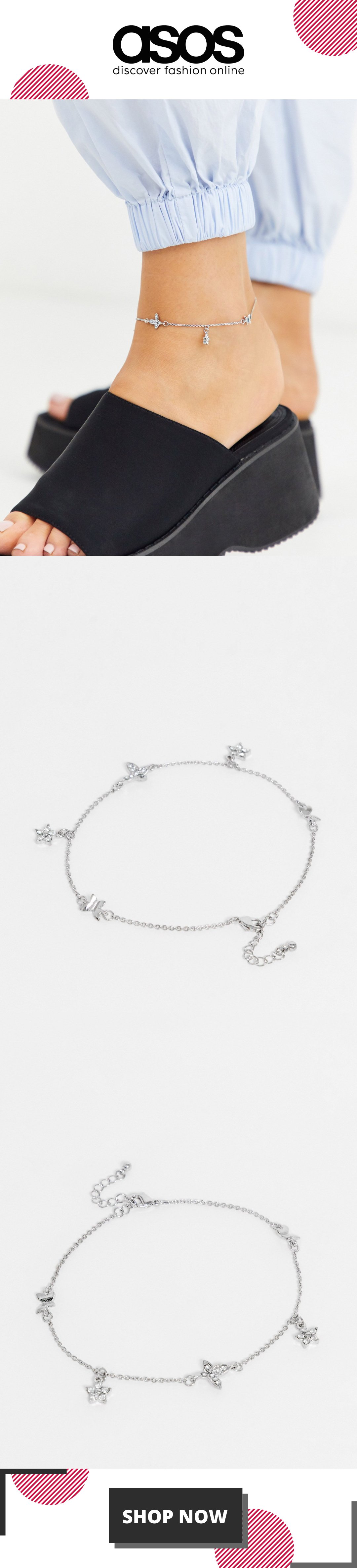 ASOS DESIGN anklet with butterfly and crystal drops in silver tone