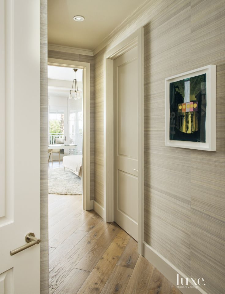 Contemporary Neutral Hallway With Wallcovering Remodel