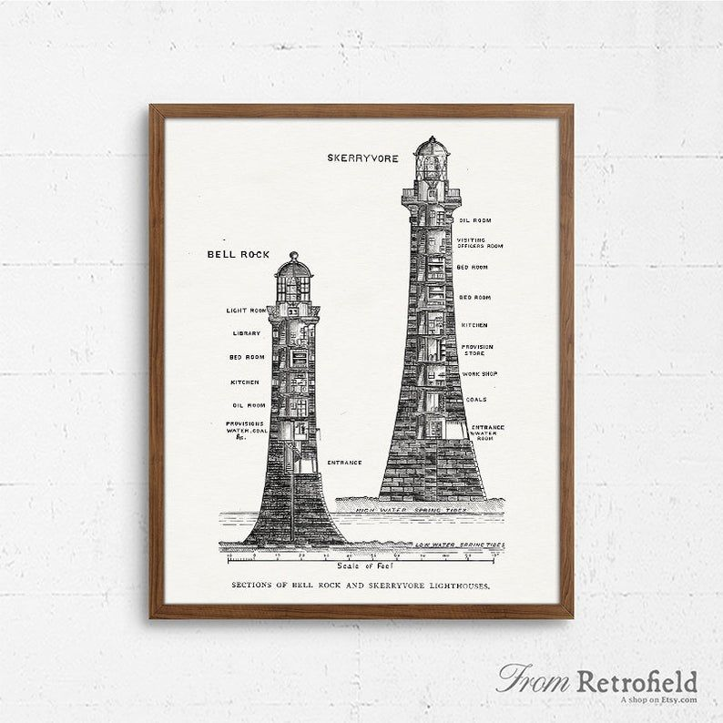 Lighthouse Blueprint Art Architectural Drawing Vintage | Etsy