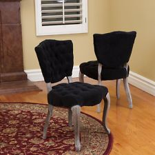 Set of 2 French Design Weathered Wood Dining Chairs Upholstered w/ Tufted Velvet $229 for set of 2