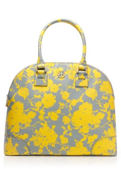 4360c67320e Yellow and grey floral Tory Burch purse.