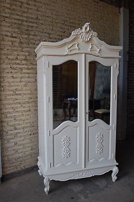 Merveilleux FRENCH SHABBY CHIC DOUBLE 2 DOOR WARDROBE ARMOIRE WHITE DISTRESSED FINISH