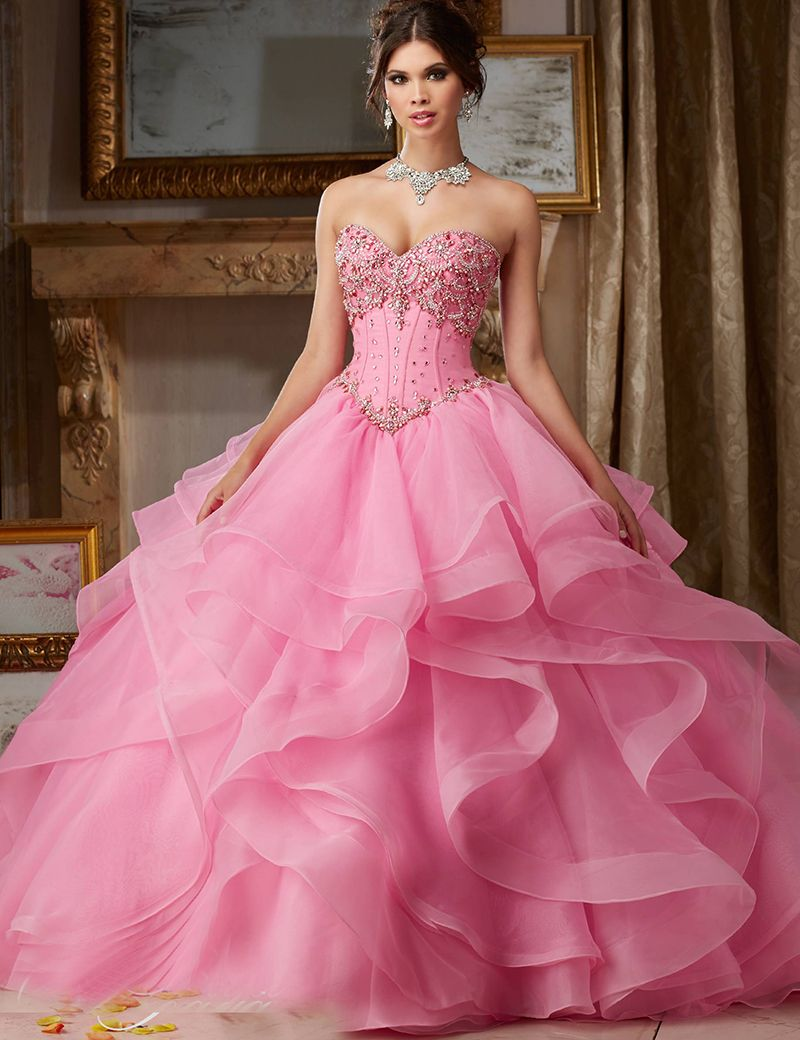 Click to buy ucuc puffy quinceanera dresses masquerade crystal