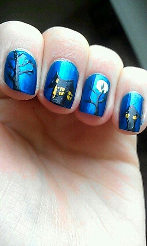 Cute Nail Idea Halloween Haunted House Nails Nails Makeup Nails Hair And Nails