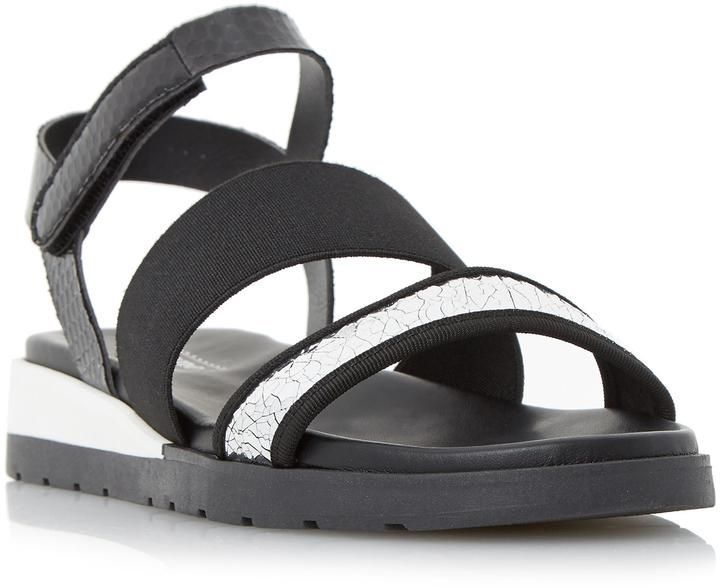 b90faf13cc0 Dune London LIGHTENING - BLACK Multi Strap Flat Sandal
