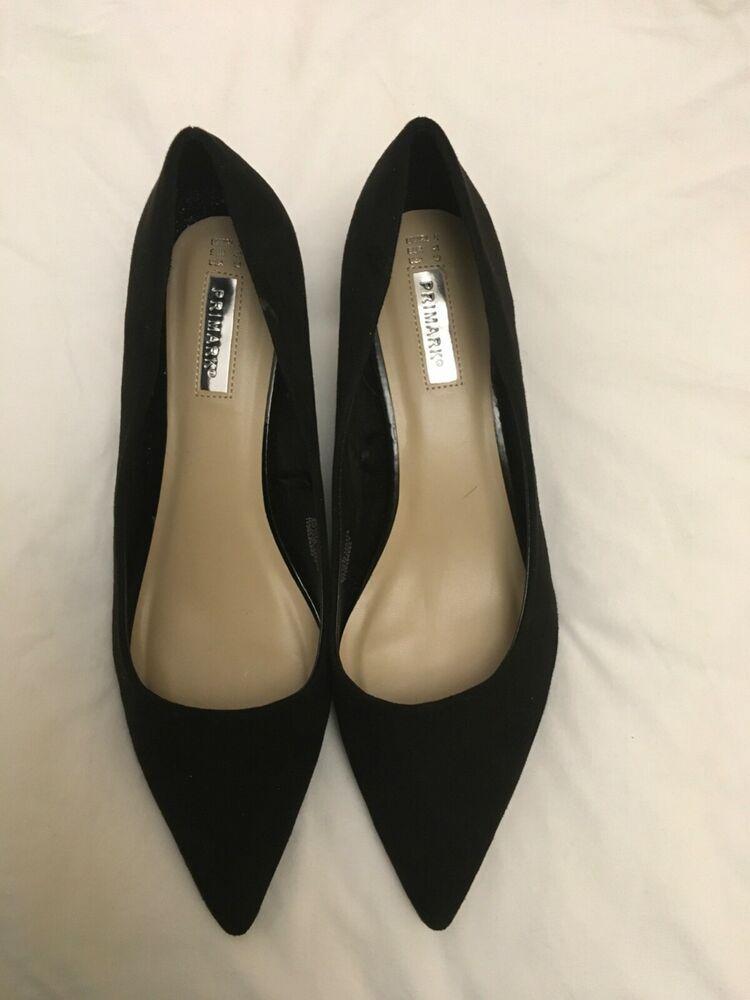 Used Primark black kitten heel faux