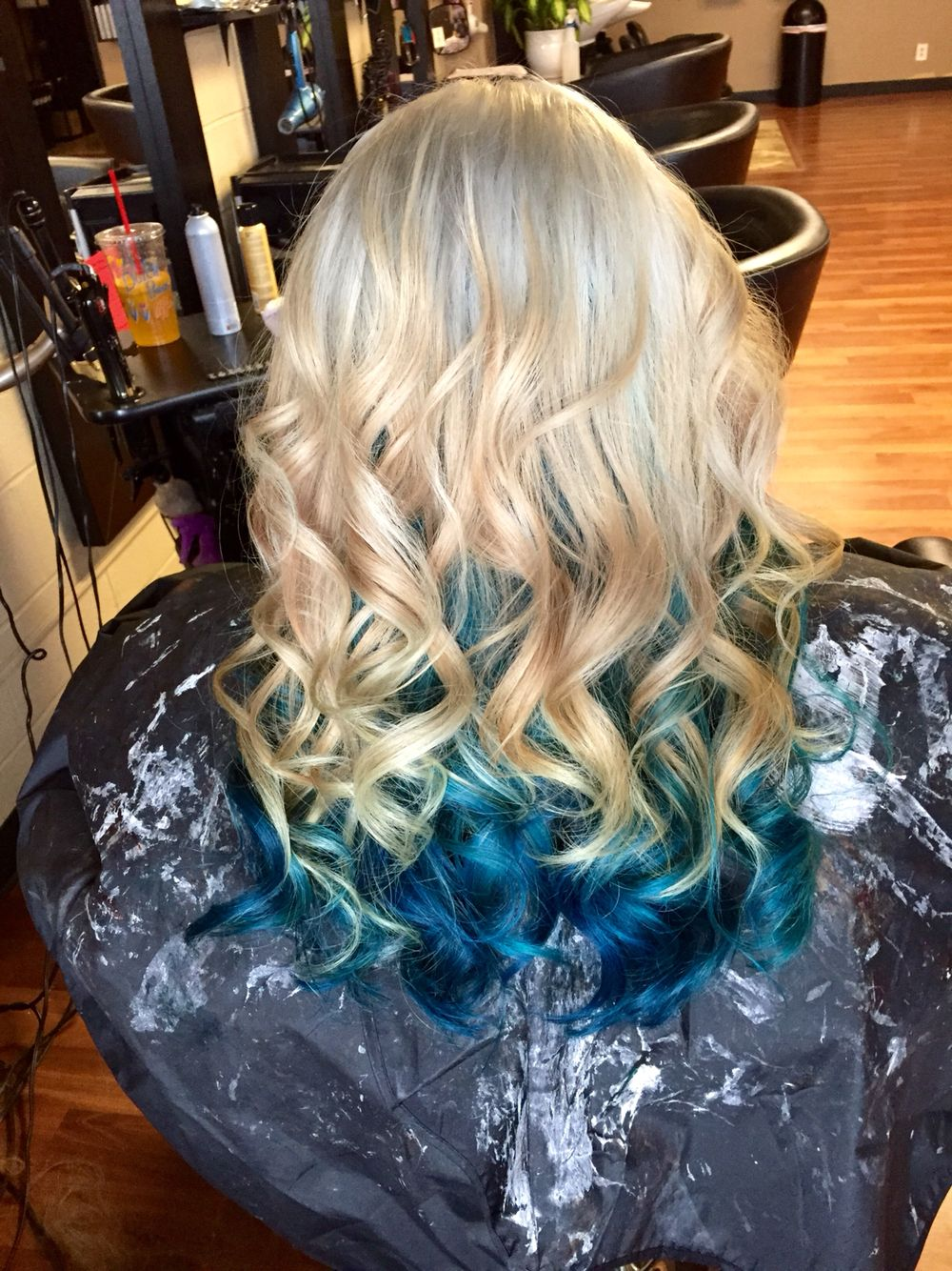 Blonde On Top With Dark Teal And Teal Underneath Cool Hair