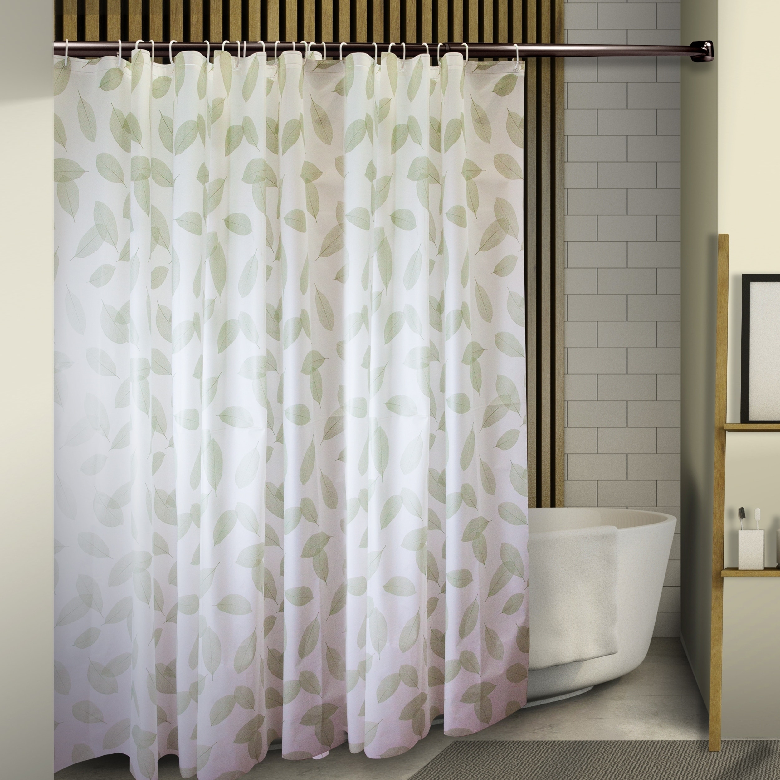 Instyledesign Leaves Shower Curtain 71 X 71 Green Leaves