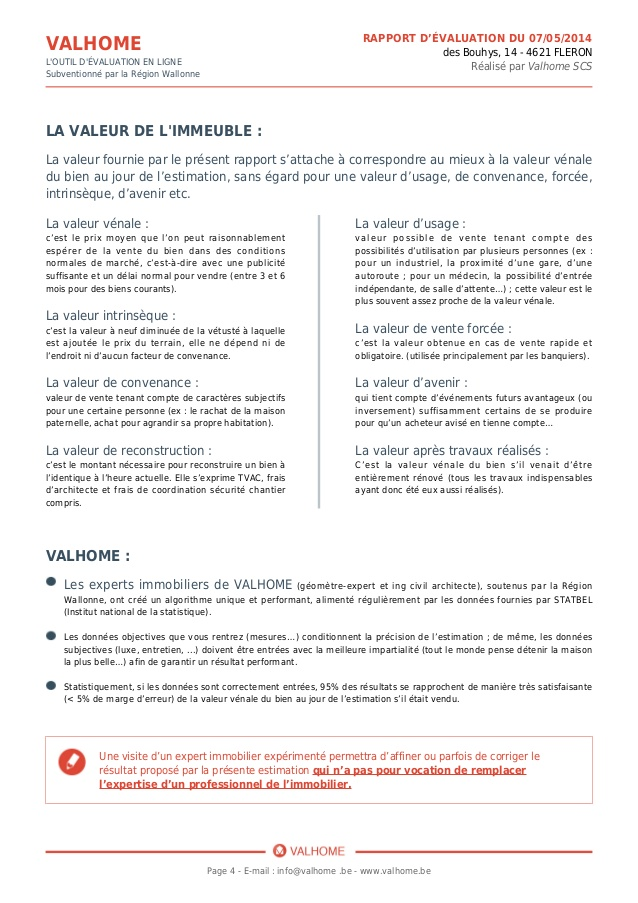 Exemple D Un Rapport D Evaluation Immobiliere Par Valhome
