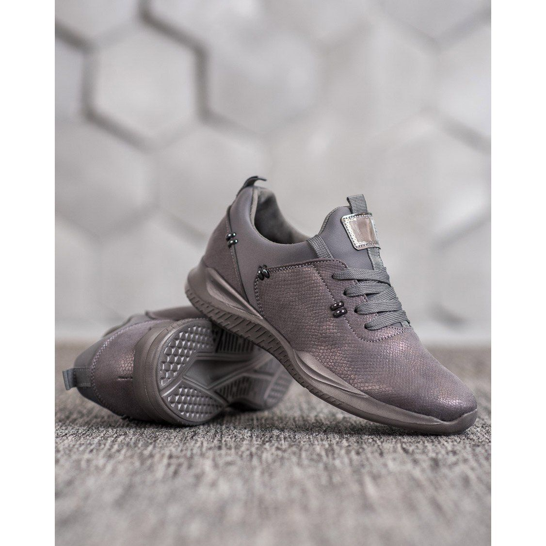 Shelovet Stylowe Buty Sportowe Szare Dress Shoes Men Oxford Shoes Black Sneaker