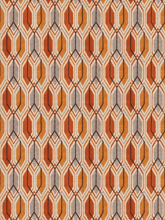 A modern upholstery and drapery fabric in a geometric design of tangerine,  mandarin and gray