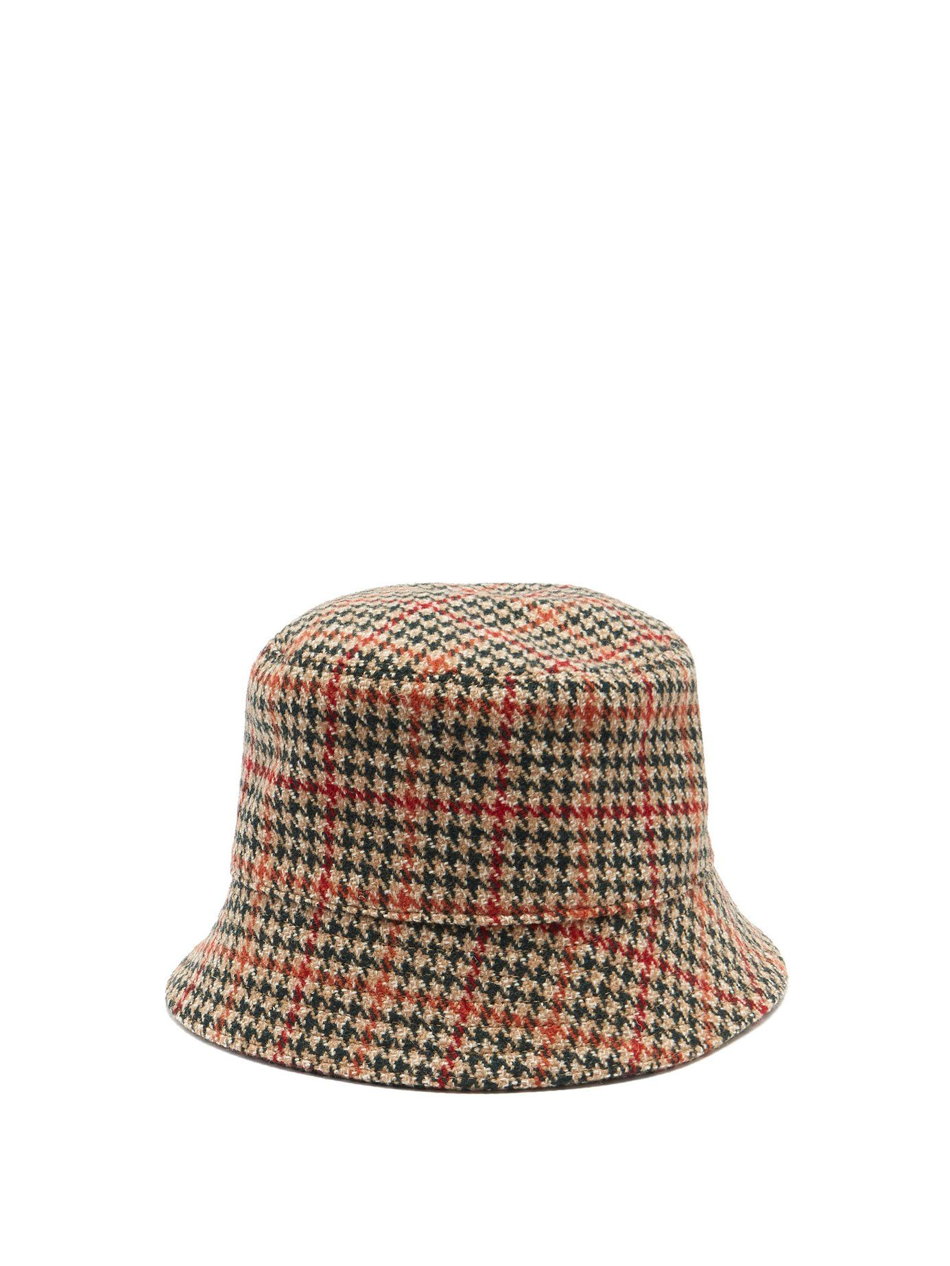 7f897cd37fe05 Houndstooth wool-tweed bucket hat
