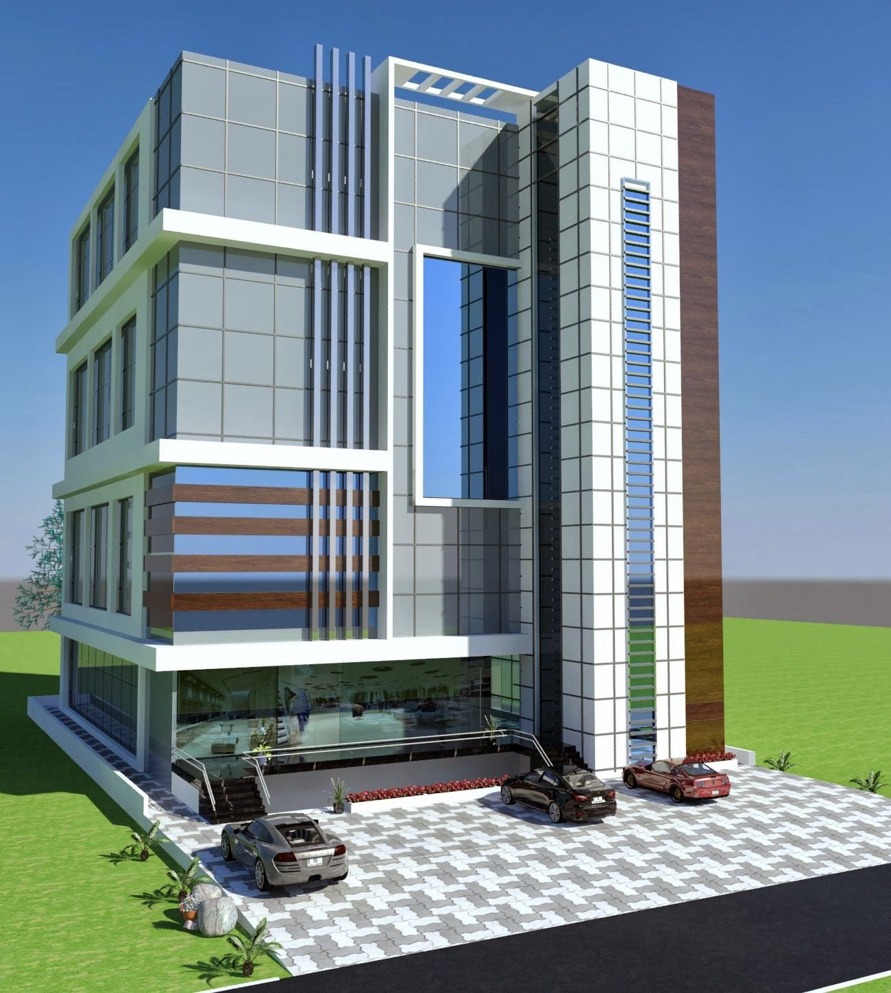 Commercial Plaza Plan 3d Front Elevation In Porposal In