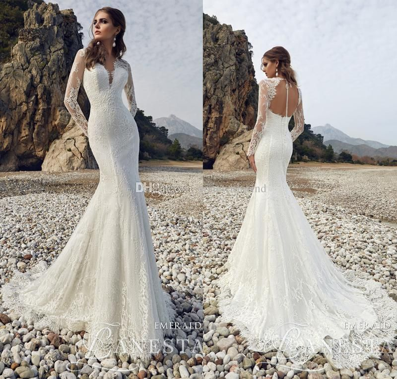 Long Sleeved Mermaid Lace Wedding Dresses 2017 Plugin Neckline Key - Wedding Dresses 2017 Lace