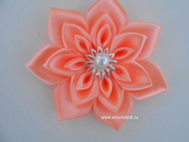 Канзаши из атласных лент розы мастер класс видео