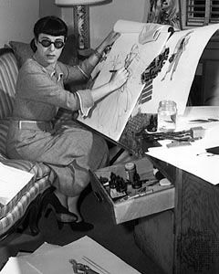 Edith Head (1897-1981) was an American costume designer who won eight Academy Awards. Head was known for her low-key working style and usually consulted extensively with the female stars with whom she worked. As a result she was a favorite among many of the leading female stars of the 1940s and 1950s such as Ginger Rogers, Bette Davis, Barbara Stanwyck, Shirley MacLaine, Anne Baxter, Grace Kelly, Audrey Hepburn, Elizabeth Taylor, and Natalie Wood.