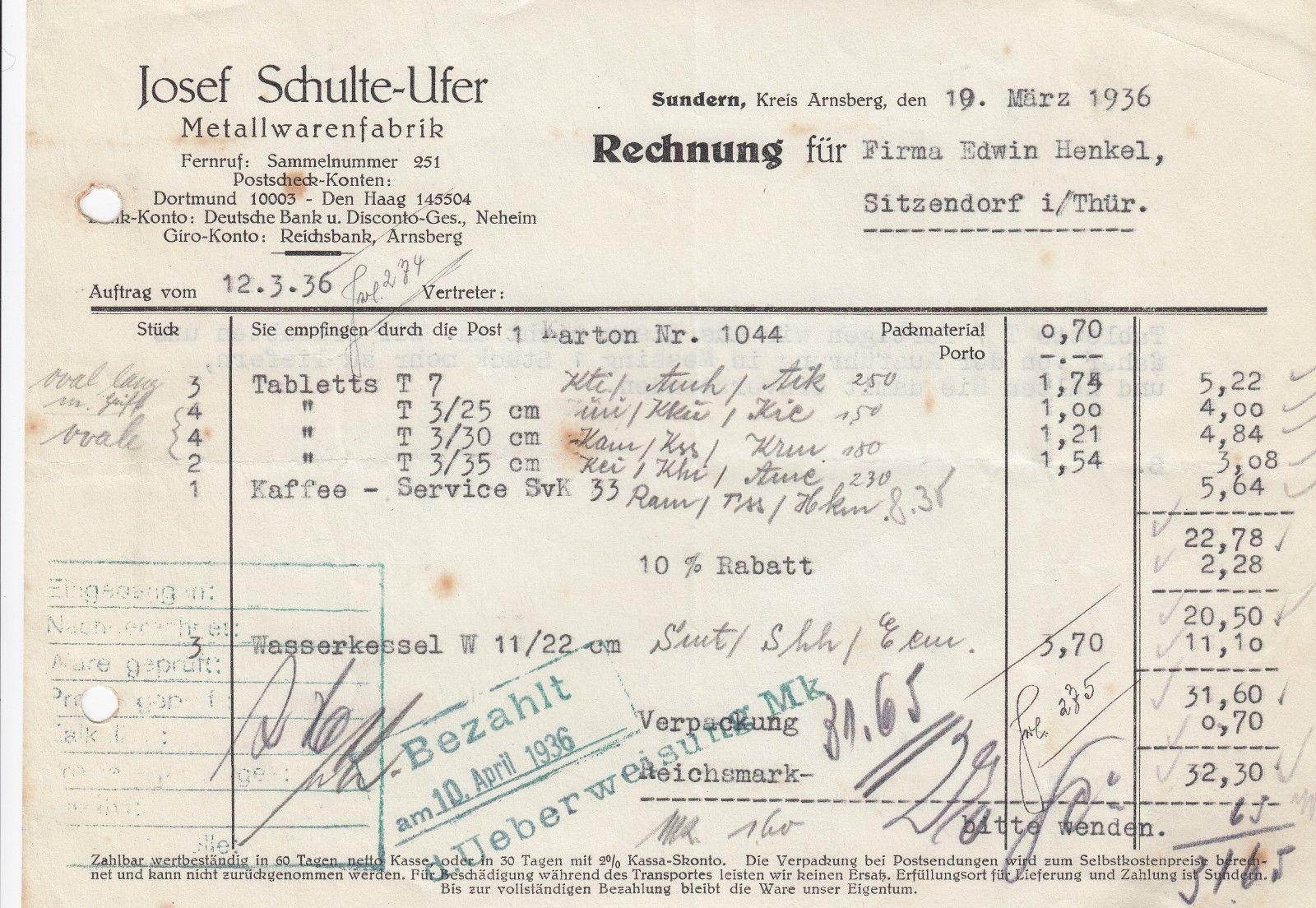 Sundern Rechnung 1936 Josef Schulte Ufer Metallwaren Fabrik Fabrik Rechnung Ebay